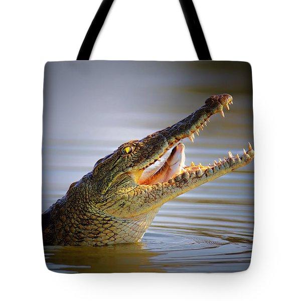 Nile Crocodile Swollowing Fish Tote Bag by Johan Swanepoel