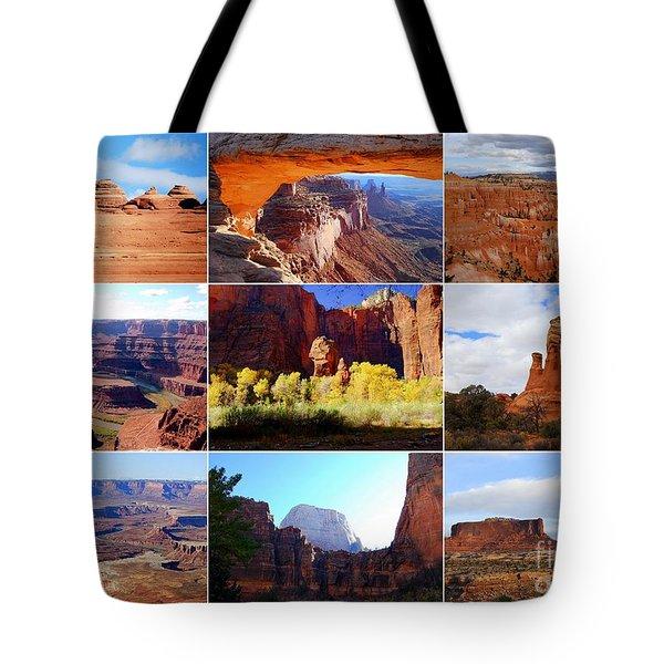 Nine Utah Landmarks Tote Bag by Catherine Sherman