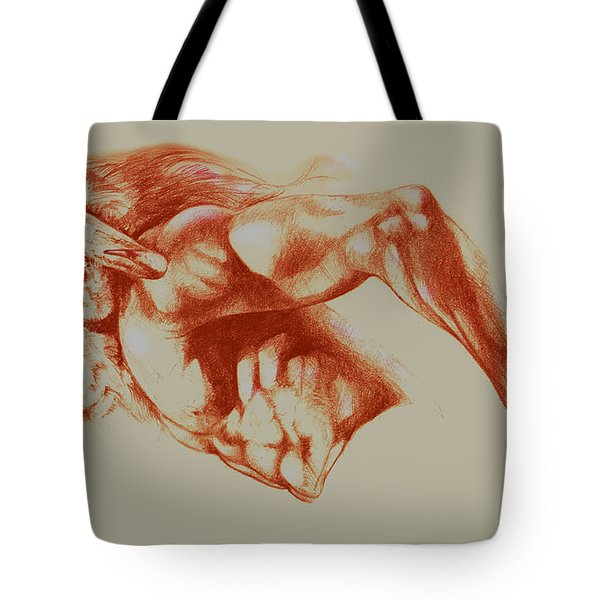 North American Minotaur Red Sketch Tote Bag by Derrick Higgins