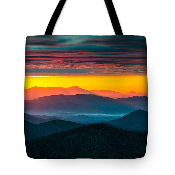 North Carolina Blue Ridge Parkway Morning Majesty Tote Bag by Dave Allen