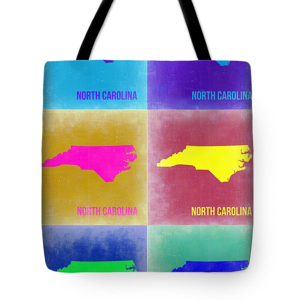 North Carolina Pop Art Map 2 Tote Bag by Naxart Studio