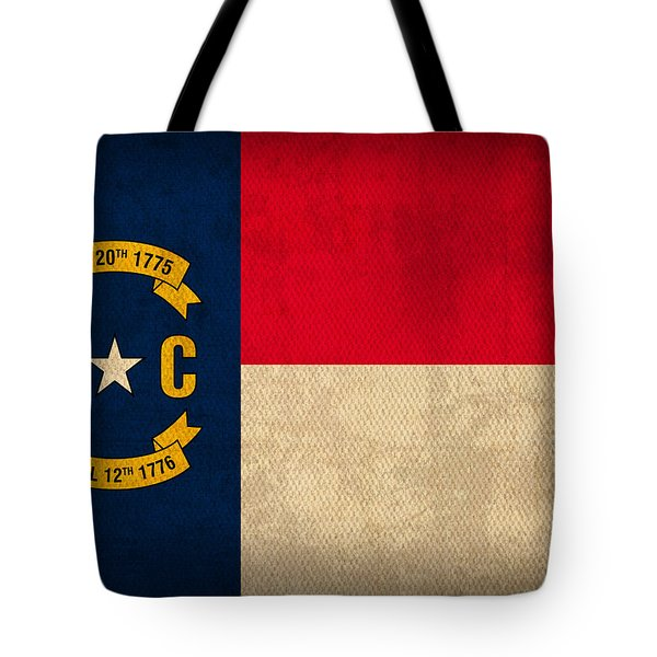 North Carolina State Flag Art On Worn Canvas Tote Bag by Design Turnpike