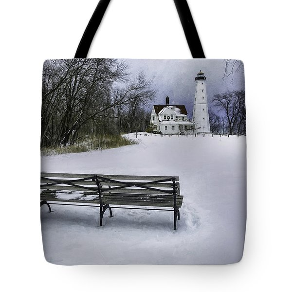 North Point Lighthouse And Bench Tote Bag by Scott Norris