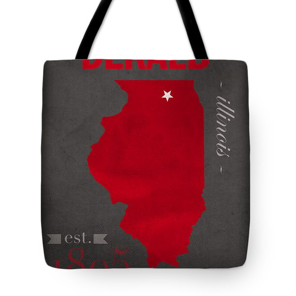 Northern Illinois University Huskies Dekalb Illinois College Town State Map Poster Series No 079 Tote Bag by Design Turnpike