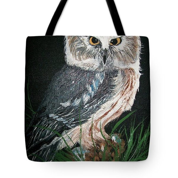 Northern Saw-whet Owl Tote Bag by Sharon Duguay