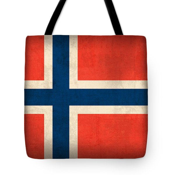 Norway Flag Distressed Vintage Finish Tote Bag by Design Turnpike