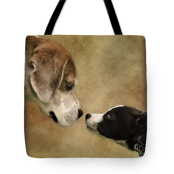 Nose To Nose Dogs Tote Bag by Linsey Williams