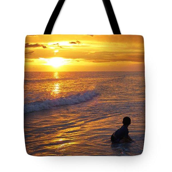 Not Yet - Sunset Art By Sharon Cummings Tote Bag by Sharon Cummings