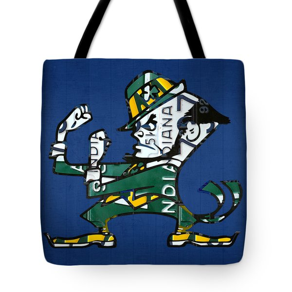 Notre Dame Fighting Irish Leprechaun Vintage Indiana License Plate Art  Tote Bag by Design Turnpike