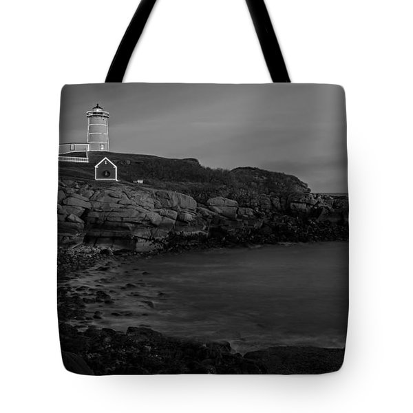 Nubble Light At Sunset Bw Tote Bag by Susan Candelario
