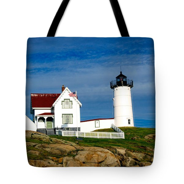 Nubble Lighthouse Tote Bag by Charles Dobbs