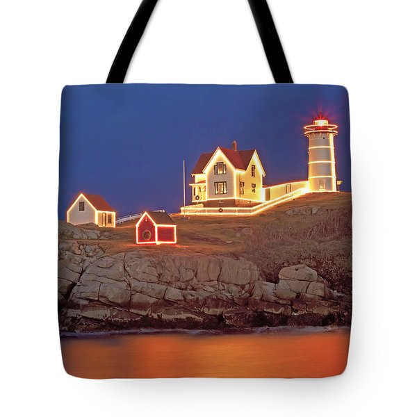 Nubble Lighthouse-Holiday lights Tote Bag by John Vose