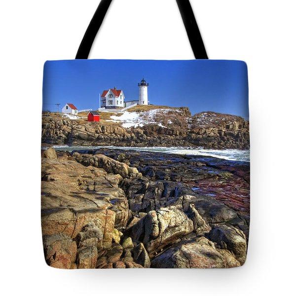 Nubble Lighthouse Tote Bag by Joann Vitali