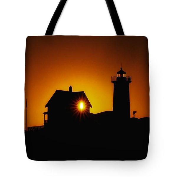 Nubble Lighthouse Sunrise Starburst Tote Bag by Scott Thorp