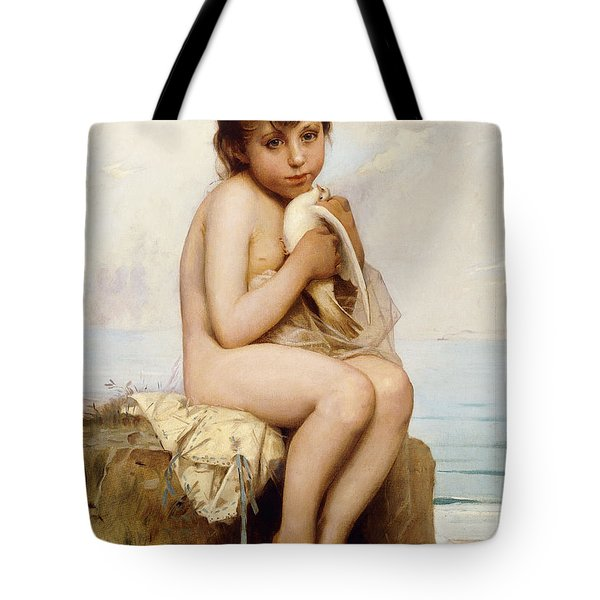 Nude Child With Dove Painting by Leon Bazile Perrault