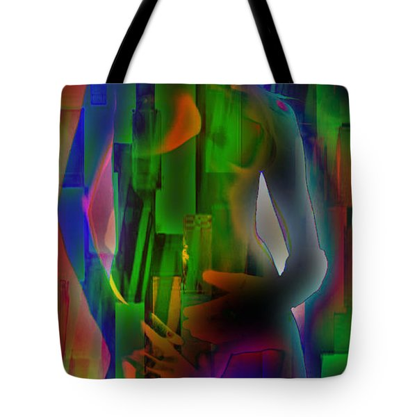 Nude In Green Tote Bag by M and L Creations
