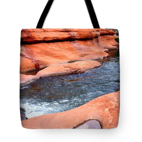 Oak Creek at Slide Rock Tote Bag by Carol Groenen