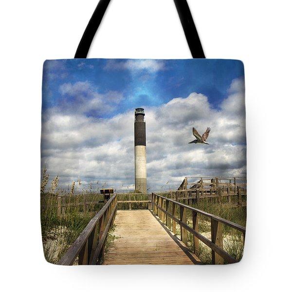 Oak Island Lighthouse Tote Bag by Betsy C Knapp