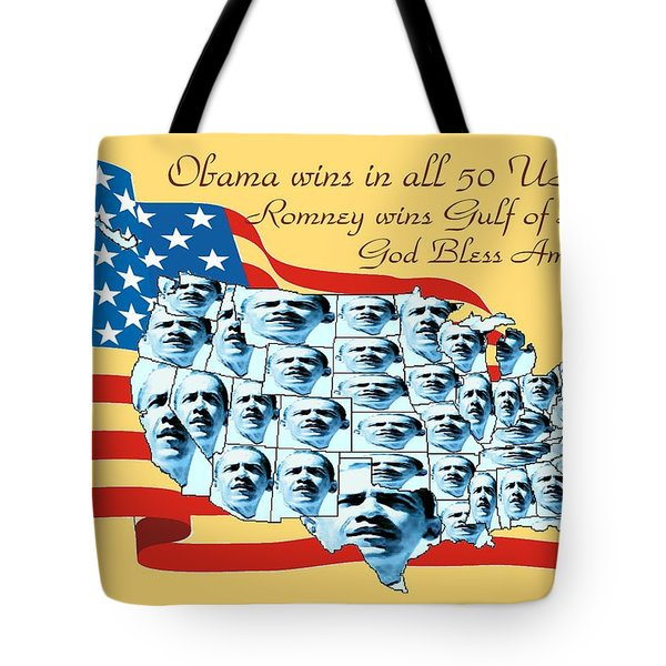 Obama Victory Map America 2012 - Poster Tote Bag by Peter Fine Art Gallery  - Paintings Photos Digital Art