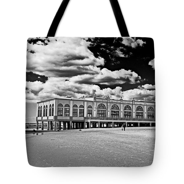 Ocean City Music Pier In Black And White Tote Bag by Tom Gari Gallery-Three-Photography