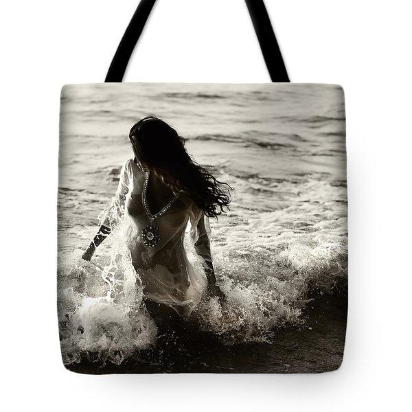 Ocean Mermaid Tote Bag by Jenny Rainbow