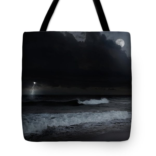 Ocean Storm Square Tote Bag by Bill  Wakeley