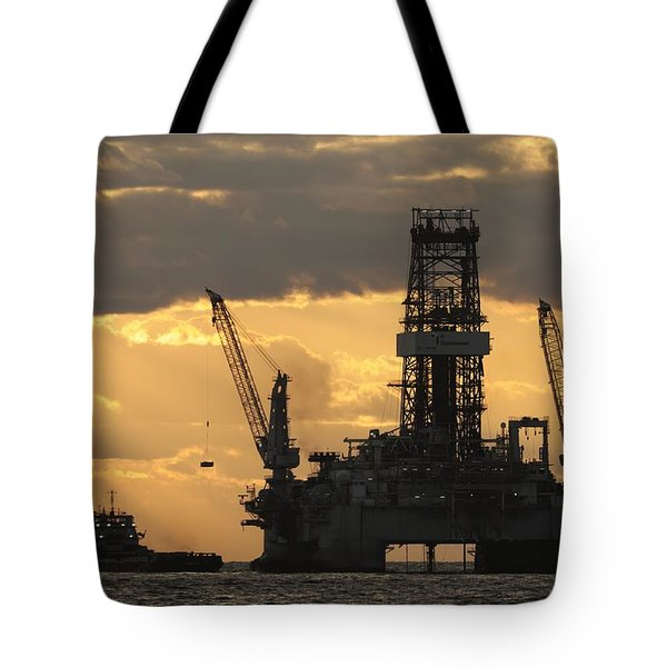Offshore Rig At Dawn Tote Bag by Bradford Martin