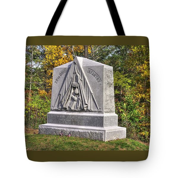 Ohio At Gettysburg - 29th Ohio Volunteer Infantry Autumn Mid-afternoon Culp's Hill Tote Bag by Michael Mazaika