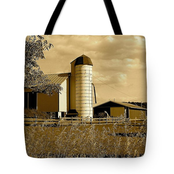 Ohio Farm In Sepia Tote Bag by Frozen in Time Fine Art Photography