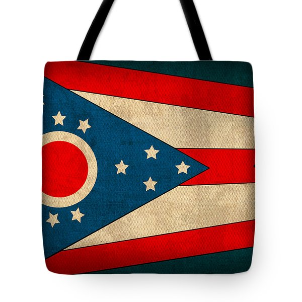 Ohio State Flag Art On Worn Canvas Tote Bag by Design Turnpike
