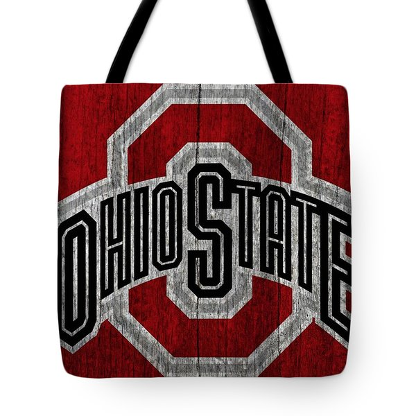 Ohio State University On Worn Wood Tote Bag by Dan Sproul