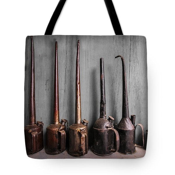 Oil Can Collection Tote Bag by Debra and Dave Vanderlaan