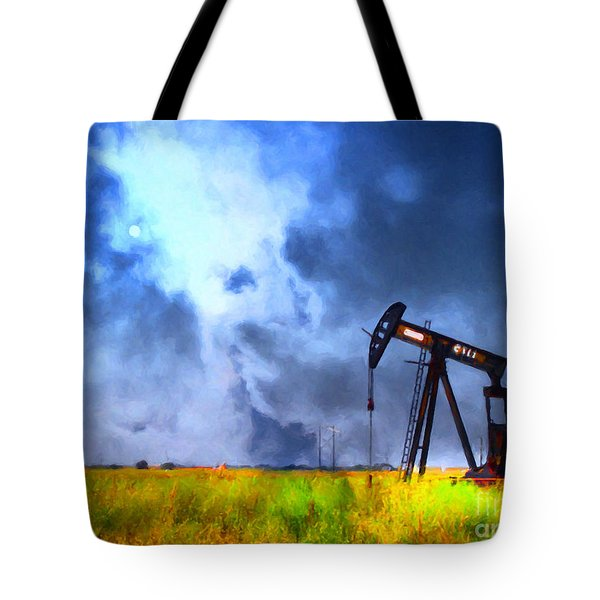 Oil Pump Field Tote Bag by Wingsdomain Art and Photography