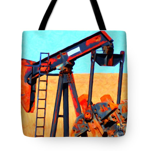 Oil Pump - Painterly Tote Bag by Wingsdomain Art and Photography