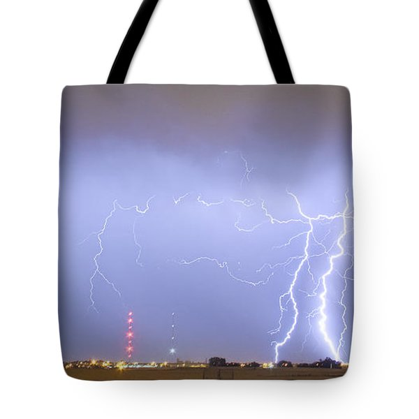 Oil Well Pumpjack Thunderstorm Panorama Tote Bag by James BO  Insogna