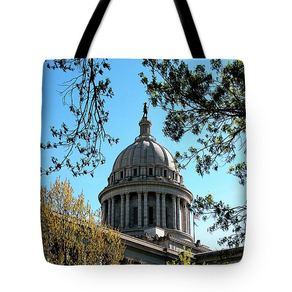 Oklahoma City Capitol In The Spring Tote Bag by Toni Hopper