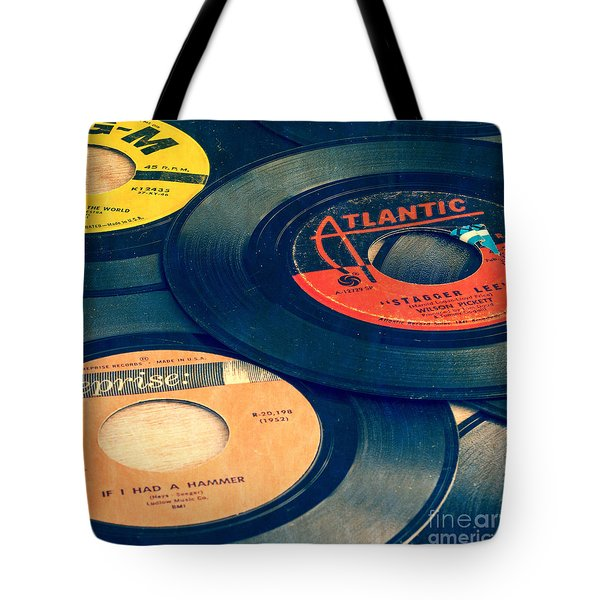 Old 45 Records Square Format Tote Bag by Edward Fielding
