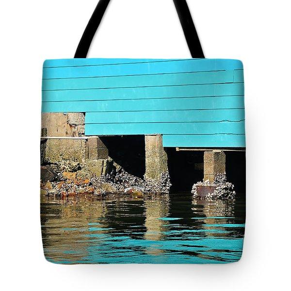 Old Aqua Boat Shed with Aqua Reflections Tote Bag by Kaye Menner
