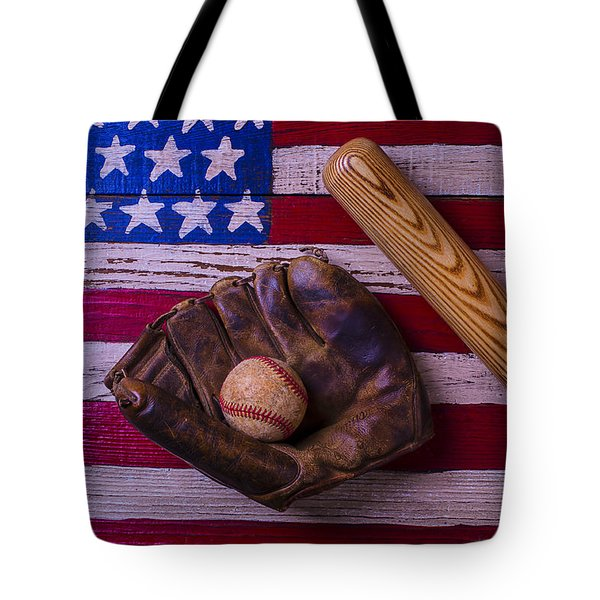 Old Ball And Glove With Bat Tote Bag by Garry Gay