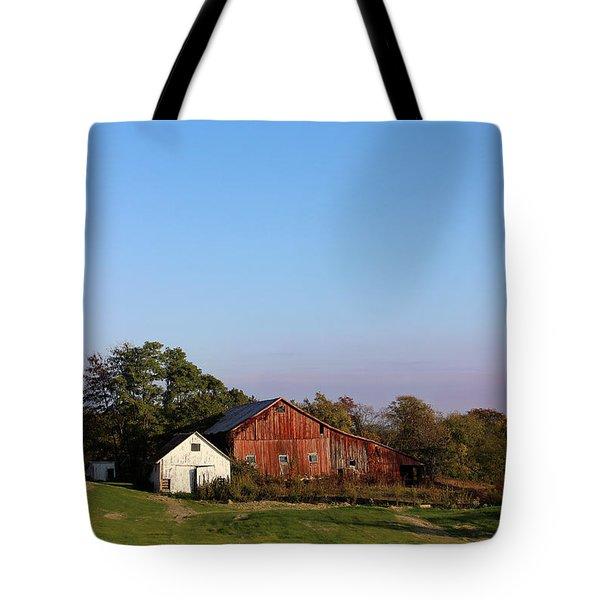 Old Barn At Sunset Tote Bag by Karen Adams