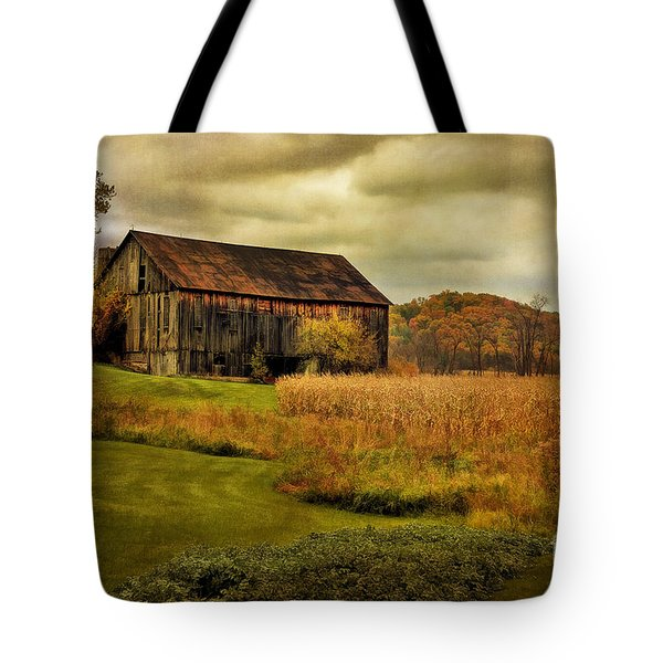 Old Barn In October Tote Bag by Lois Bryan