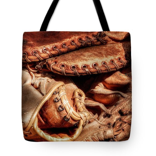 Old Baseball Gloves Tote Bag by Bill  Wakeley
