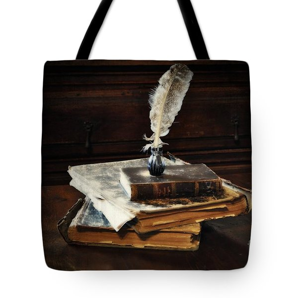 Old Books And A Quill Tote Bag by Mary Machare