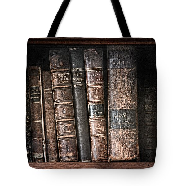 Old Books On The Shelf - 19th Century Library Tote Bag by Gary Heller