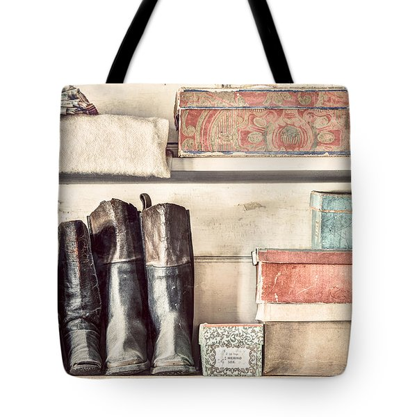 Old Boots And Boxes - On The Shelves Of A 19th Century General Store Tote Bag by Gary Heller
