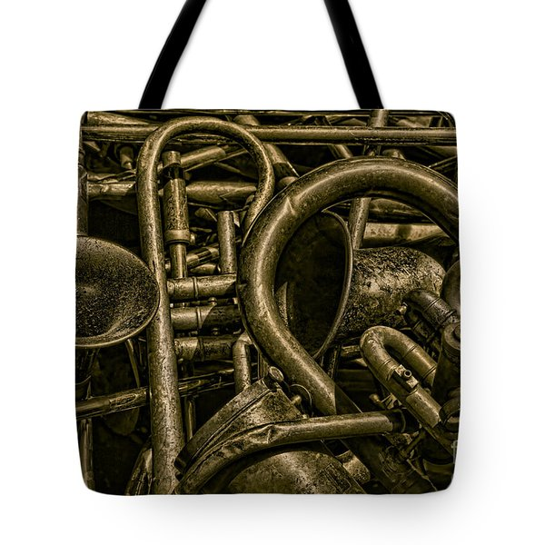 Old Brass Musical Instruments Tote Bag by David Gordon