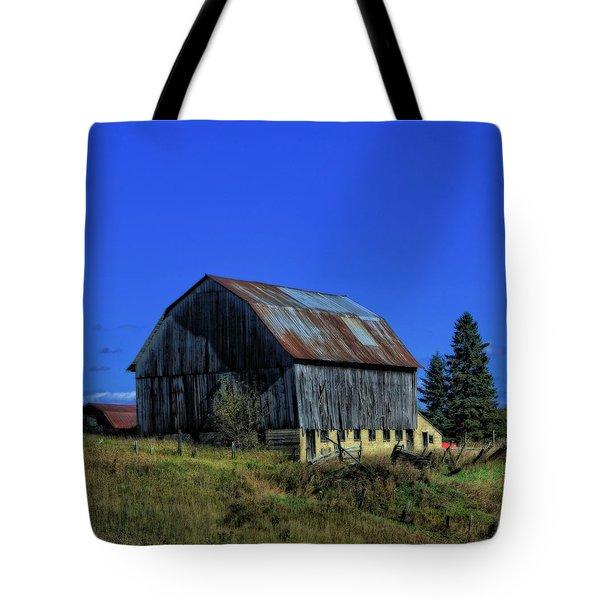 Old Broken Down Barn In Ohio Tote Bag by Dan Sproul
