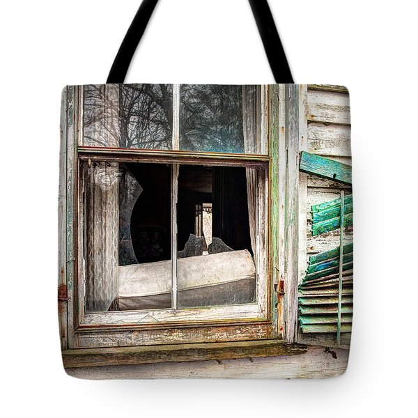 Old Broken Window And Shutter Of An Abandoned House Tote Bag by Gary Heller