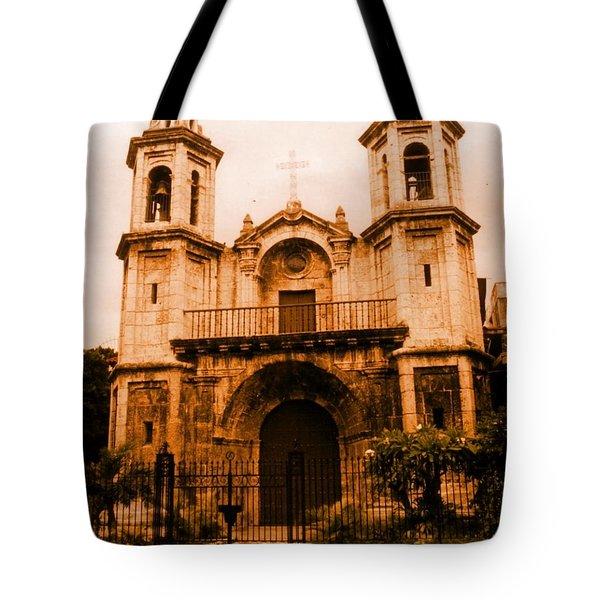 Old Colonial Church In Varadero Cuba Tote Bag by John Malone