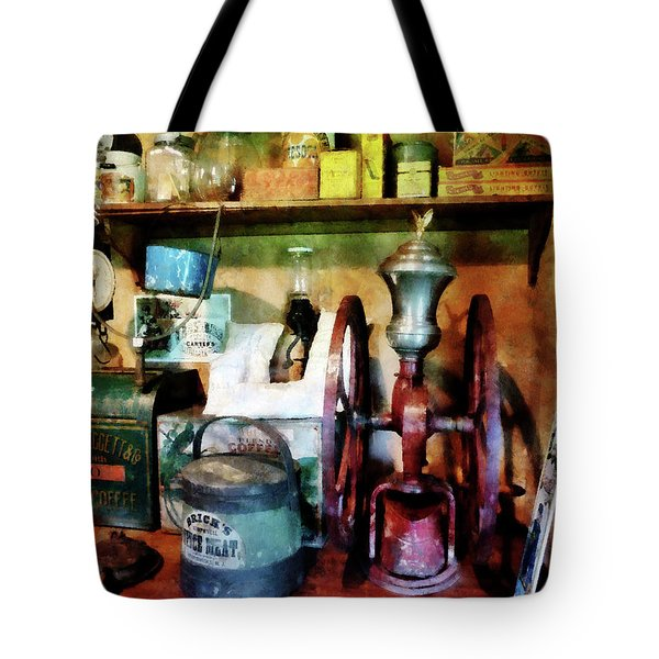 Old-Fashioned Coffee Grinder Tote Bag by Susan Savad